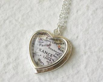 Paris Map Necklace - Petite Heart