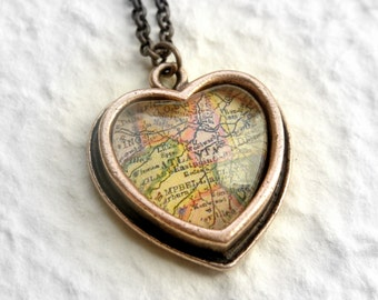 Atlanta, Georgia Map Necklace - Choose your favorite map from 25 choices - Petite Heart Shaped