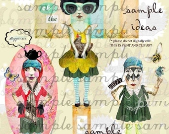 ART TEA LIFE Green Girl Soul Collage Sheet Journal Page Scrapbooking clip art Digital File paper doll card gift tag altered art parts