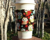 FREE SHIPPING UPGRADE with minimum -  Fabric coffee cozy / cup sleeve / coffee sleeve / drink cozy -- Fun owls on brown