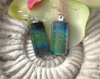 Green Dichroic Earrings, Dangle Drop Earrings, Dichroic Jewelry, Glass Earrings, Fused Glass Jewelry, Sterling Silver Earrings, 101718e100a
