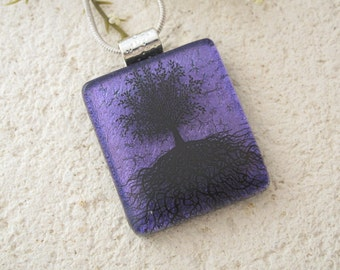 Purple Tree of Life,  Dichroic Jewelry, Fused Glass Jewelry, Tree of Life Jewelry, Glass Jewelry, Necklace Included,Glass Jewelry 110215p111