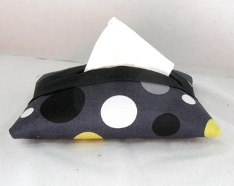 Dots Tissue Case Circle Tissue Cozy Grey Yellow Pocket Size Tissue Holder