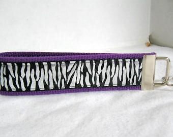 PURPLE Zebra Key Fob Shimmer Glittery Key Chain Silver Foil Animal Print Large Keychain