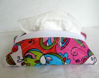 Quilted Tissue Holder - Groovy Paisley Pocket Tissue Case - Quilted Purse Tissue Cover