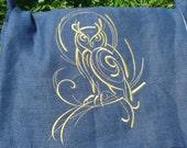 Embroidered Owl, Haversack, SCA, Renaissance Faire, Pouch, LARP, Dagorhir, Amtgard, Belegarth, Messenger Bag, Owl Bag