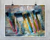 Still Life Photography - red blue yellow paint brushes Fine Art Photography Photograph print wall decor 10x8 11x14 20x16 20x30