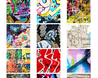 Colourful Graffiti Street Art digital collage sheet 2 inch square photographs wall urban art spray bright vibrant instant download pdf jpg