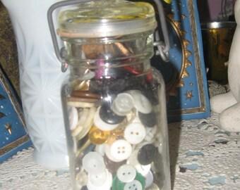 Vintage Antique Mason Jar Filled with Vintage Buttons