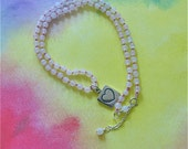 OOAK Rose Quartz hand knotted necklace with Heart engraved on Square Charm