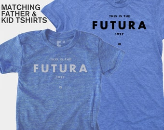 SALE! Matching Father Son Shirts, Dad and Baby Matching TShirts, Gift for New Dad, Futura Typograpy Shirt, Father Child Matching