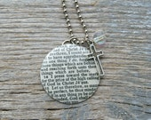 SALE - Philippians 3:13 - 14   - Altered Vintage Glass Watch Crystal Pendant Necklace - Recycled Upcycled - Ready To Ship
