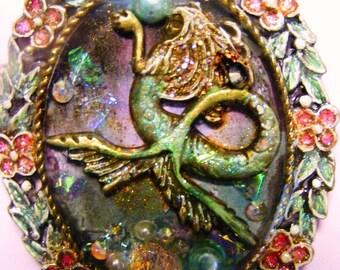 FairyGlass Revenge Of The MerDragon Mermaid Resin Pendant