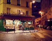 A Stroll Through Montmartre, PARIS Photograph, Under the Street Lamp, Golden Glow, Parisian Market, Cobblestone Street, Marche, Street Scene