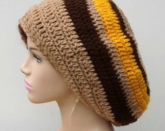 Large Slouchy Beanie, Earthy Retro Hat, Dreads Tam Hat, Hippie Dread Beret Hat, Very Slouchy Beanie Hat, wide crown men beanie, women beanie