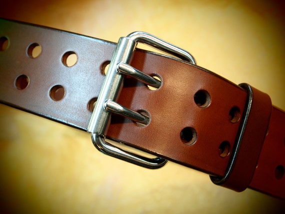 "Brown Bridle leather belt 2"" wide handmade in Brooklyn heavy and Retro!"