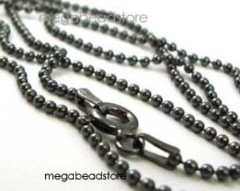 24 Inch Dark Oxidized Sterling Silver Bead Chain  1.5mm Ball Necklace FC10Z
