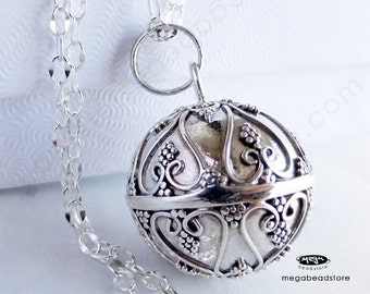 16mm Filigree Heart Bola Harmony Ball Pendant Bali 925 Sterling Silver P78