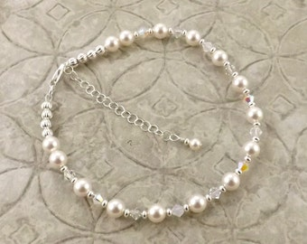 Ice Queen frosty white Swarovski pearl and crystal adjustable anklet ankle bracelet