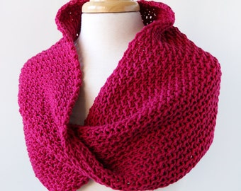 Women's Fashion Accessories - Hand-Knit Scarf Wrap with a Twist - Merino Wool - Raspberry Fuchsia