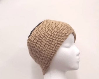 Knitted skullcap, knitted beanie, knit hat, tan skullcap 5004