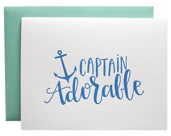 Captain Adorable Letterpress Card