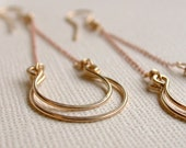 Valentine's Sale. Lucky in Rose Gold and 14k Gold Fill Earrings. Handcrafted. Artisan. Earrings. Jewelry. Etsy.