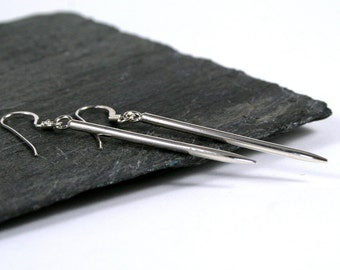 Sterling Silver Spike, Spear, Dagger Drop Earrings