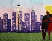 """Seattle Skyline Art, Seattle Art Print, Rain Art Print, City Print, Cityscape Art - """"Seattle Rain"""""""