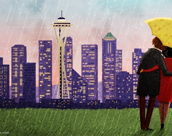 "Seattle Skyline Art, Seattle Art Print, Rain Art Print, City Print, Cityscape Art - ""Seattle Rain"""