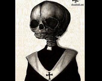 "Print 8x10"" - Father - Dark Art Skull Skeleton Macabre Horror Priest Pope Cross Lowbrow Art Bones Taxidermy Huanted Monster Nun Gothic"