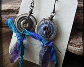 Amethyst spike earrings, Rough purple quartz Artisan lampwork glass Recycled silk Raw copper - Endless Circle