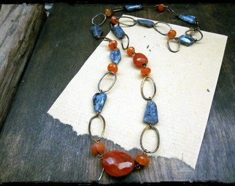 Kyanite nugget necklace, Faceted blue gemstone nuggets Carnelian Forged brass hoops - Swallowtail