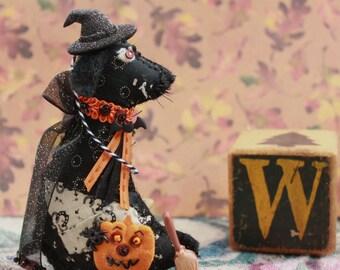 Halloween Witchie Labrador Retriever - October Black Lab Doggy -  Quilty Critter, OOAK, Novelty, Folk Art