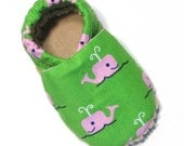 Pink Whales Soft Soled Baby Shoes 0-6 mo