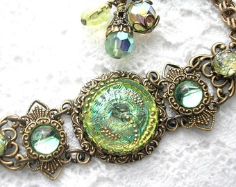 Shades of Spring - Czech Glass Button Bracelet - Antiqued Brass with Peridot and Jonquil