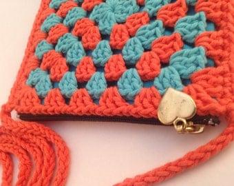 Not so square - Crochet Granny Square Handbag - Orange and Turquoise