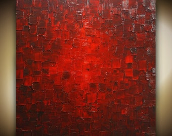 Original Abstract Red Painting Palette Knife Modern Large Painting Fine Art on Canvas Thick Texture Ready to Hang 30x30 by Susanna