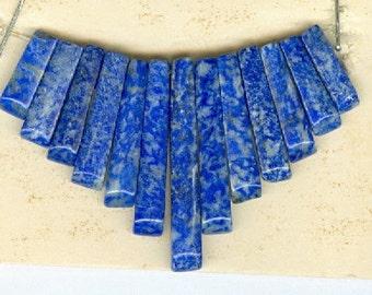 Genuine Blue Lapis Mini Cleopatra Collar Graduated Gemstone Fan 13 Piece Stick Bead Set