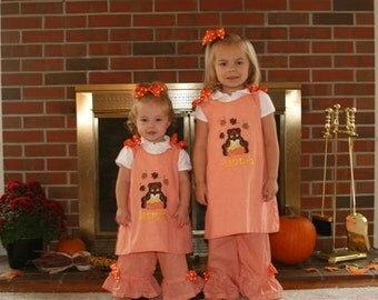 Candy Corn Bear Applique A-line Top and Pants Set FALL Halloween Thanksgiving
