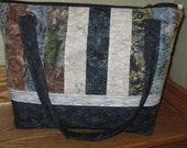 Quilted Handmade Blues Stripe Tote Bag  552
