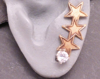 CONSTELLATION  Brass and CZ Star Ear Sweep - SINGLE Golden Ear Pin Earring