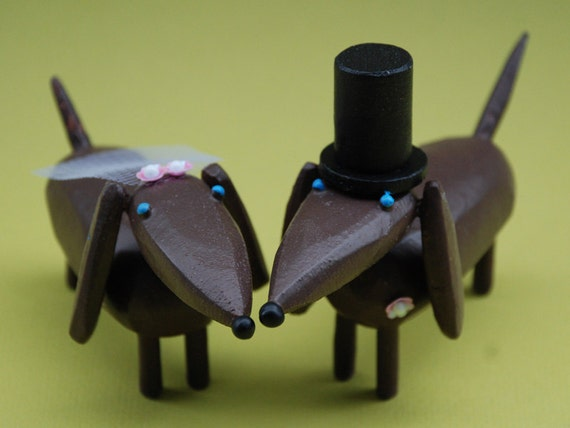 Dachshunds Wedding Cake Toppers | Custom Dog Cake Toppers | Gay Wedding | Bride and Groom Doxies