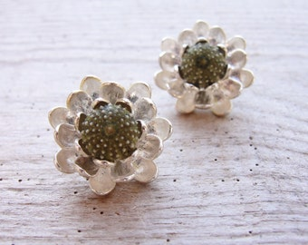 Floral Sea Urchin Post Earrings Flower Stud Earrings