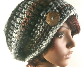 Chunky Slouchy Beanie in Ashes - Shades of brown, gray, black