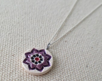 starflower necklace, plum and charcoal ... handmade porcelain jewelry by Sofia Masri