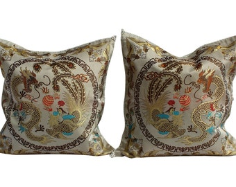 "Asian Style Pillow Covers, Pair Chinioserie Pillow Covers - 16"" - Dragons"