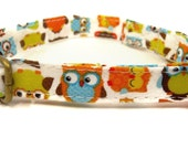 The Owls - Organic Cotton CAT Collar Breakaway Safety - All Antique Brass Hardware