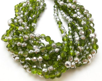 50 Green Faceted Glass Beads 6mm (H1318)