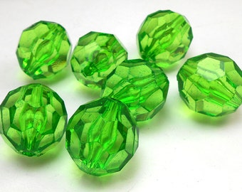10 Faceted Green Acrylic Beads 20mm chunky gumball beads (H1622)